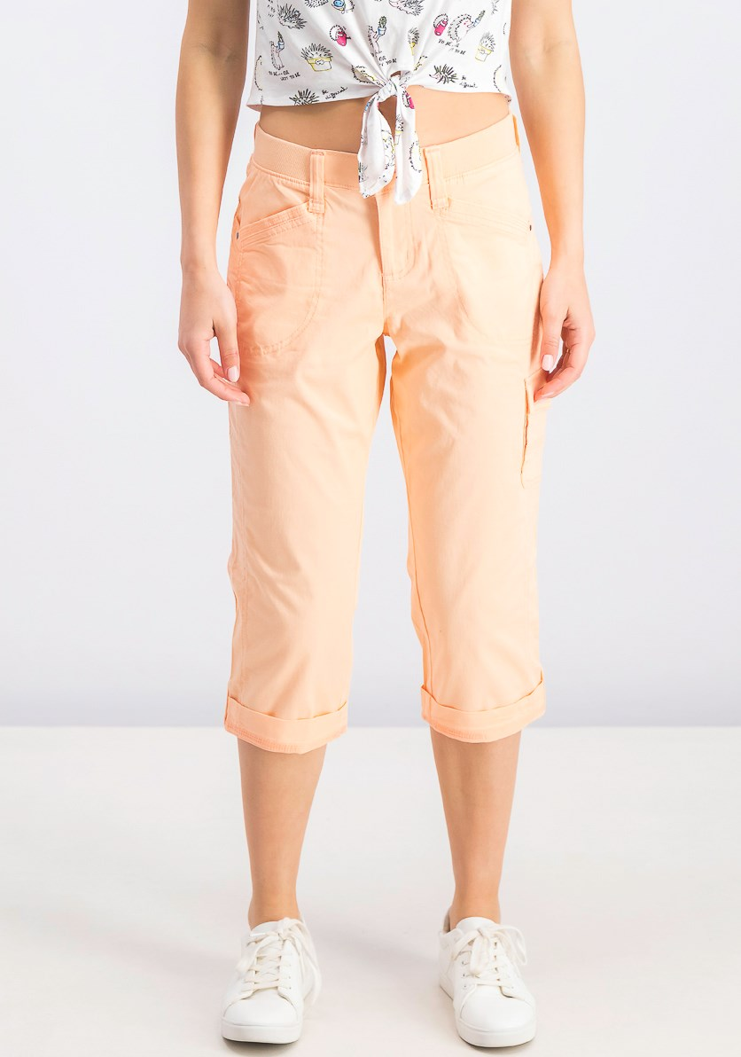 Women's Petite Cropped Cargo Pants, Peach Nectar