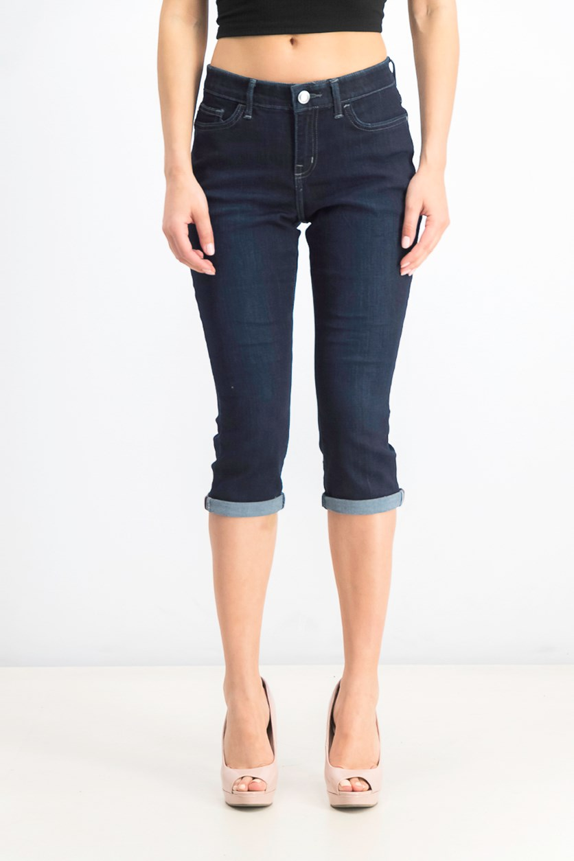 Petite Cropped Skinny Jeans, Navy