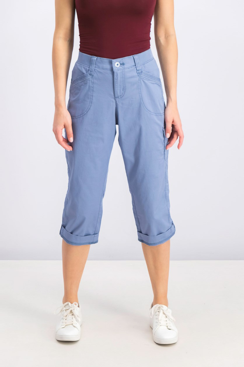 Women's Petite Cropped Cargo Pants, Dusty Blue