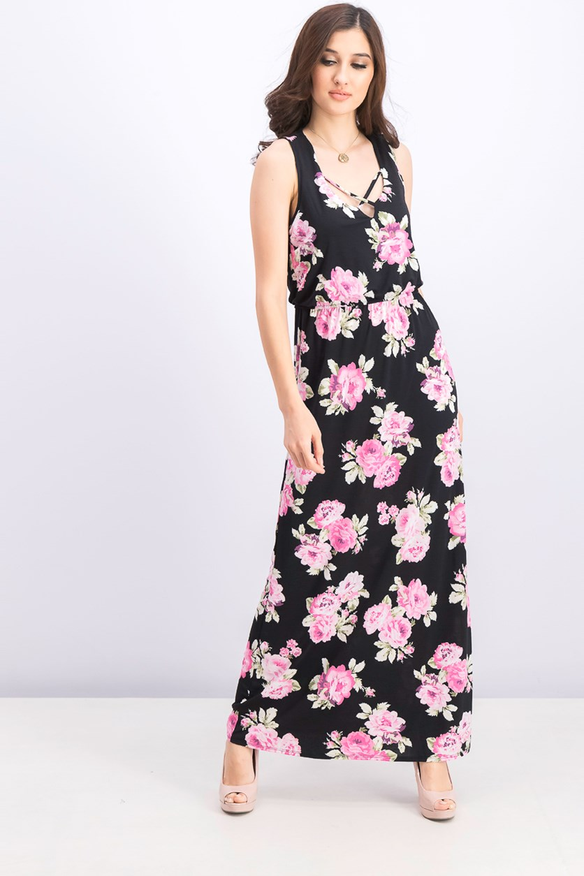Women's Floral Print Maxi Dress, Black/Pink