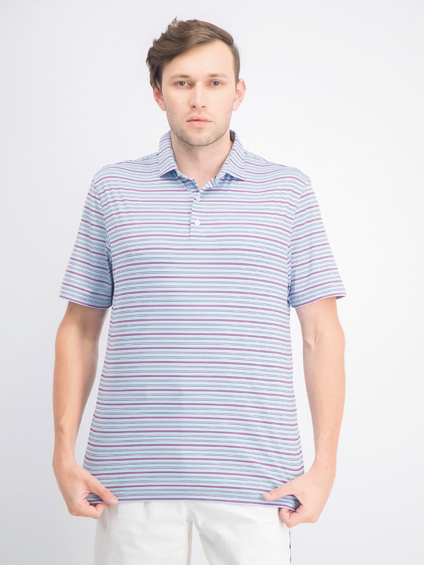 Men's Kingston Stripe Short Sleeve Polo, Gulf Blue