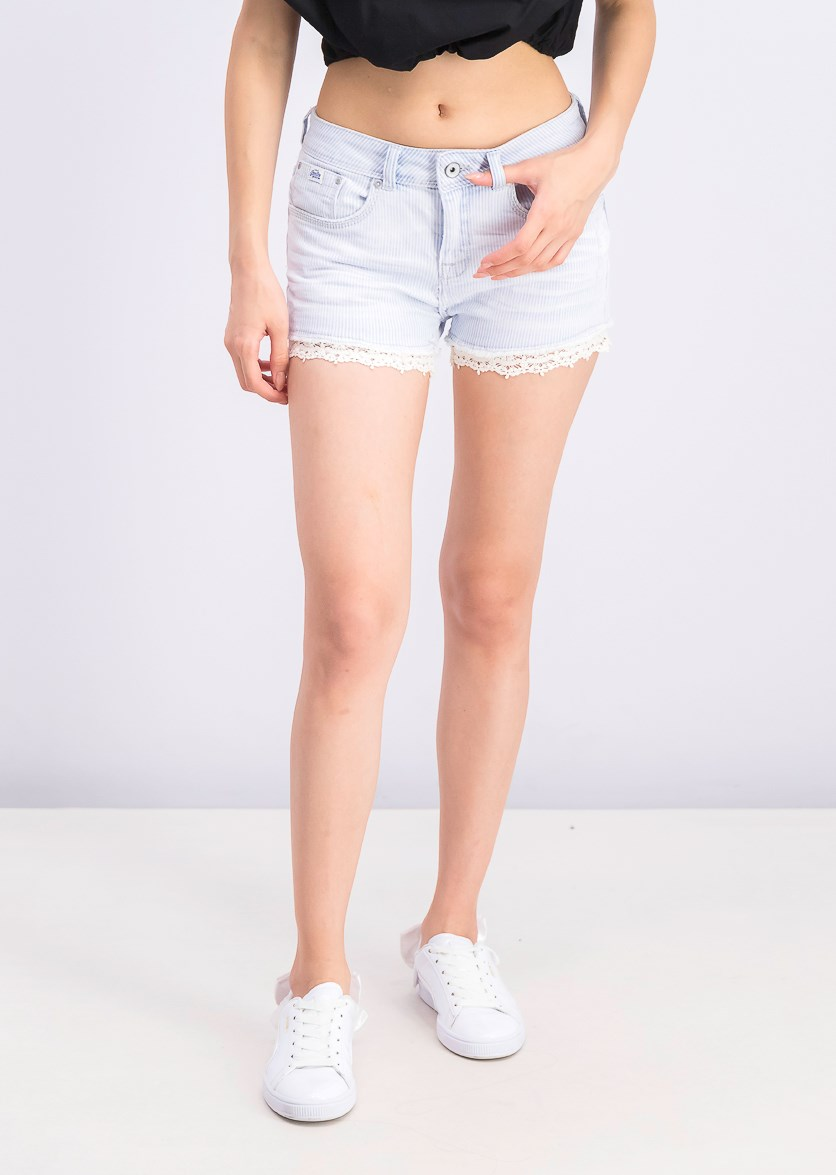Women's Lace-Hem Denim Shorts, Stripe Lace