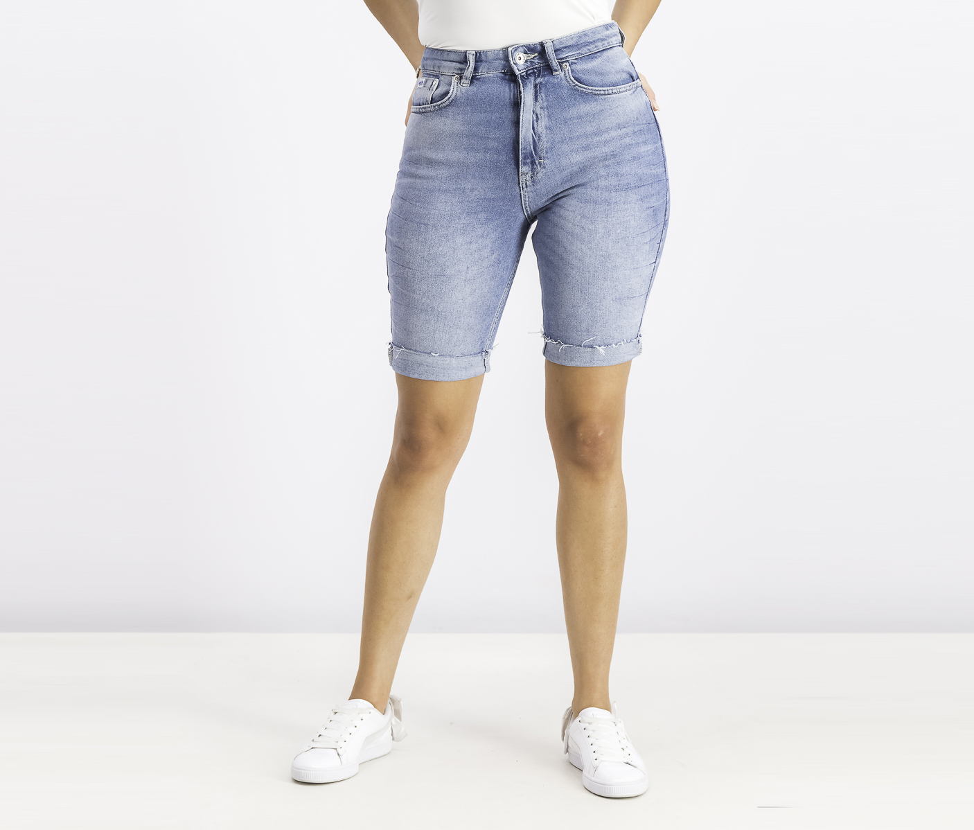 Women's Kari Longline Denim Shorts, Coast Blue