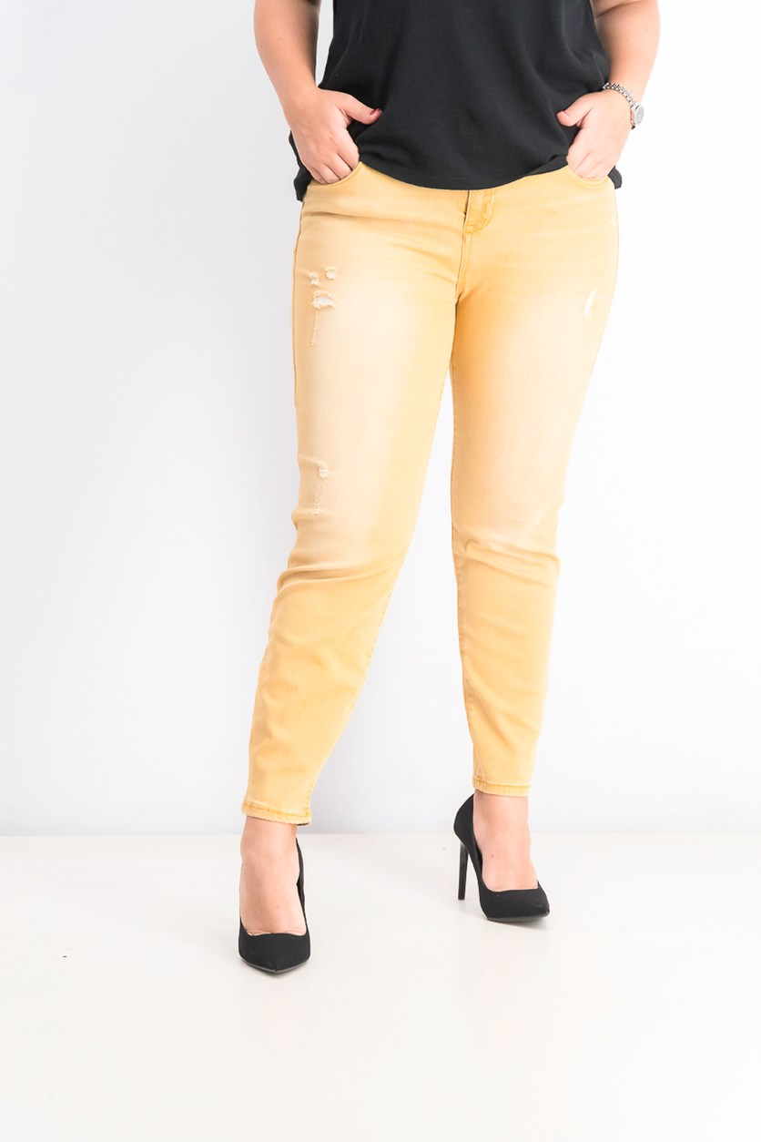 Womens Juniors' Colored Distressed Skinny Jeans, Sunday Mustard