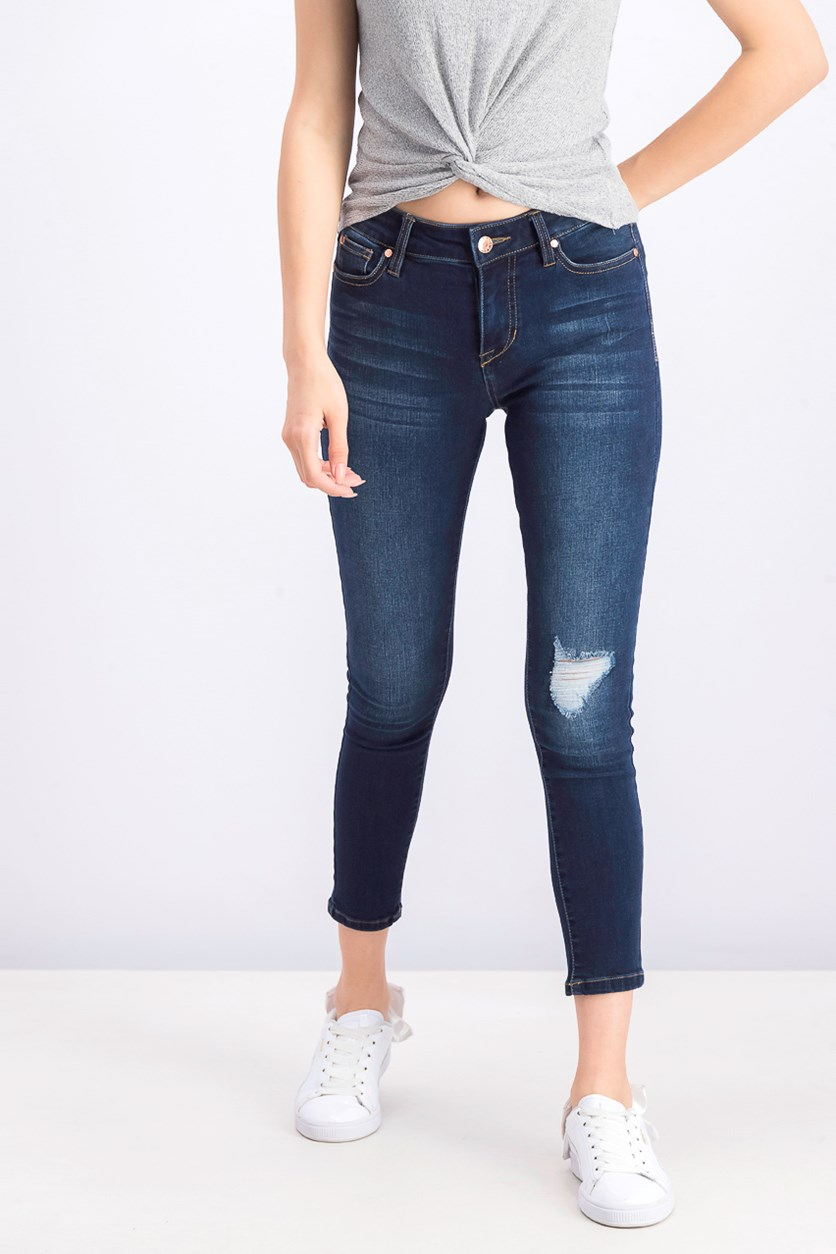 Juniors' Ripped Cropped Skinny Jeans, Dark Blue
