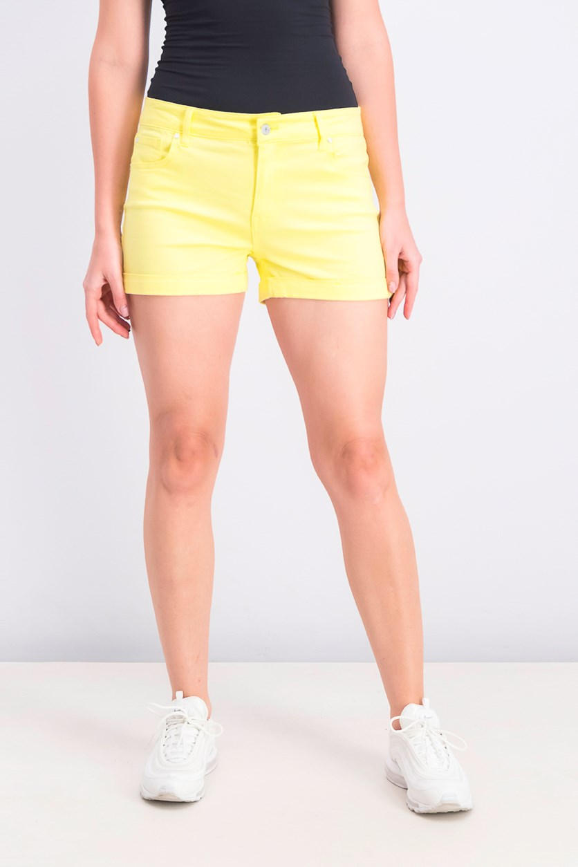 Juniors' Cuffed Denim Shorts, Lemonade