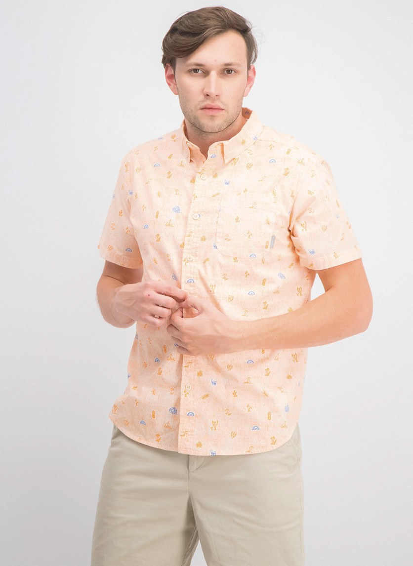 Men's Rapid Rivers Printed Short Sleeve Shirt, Orange Blast Campfetti
