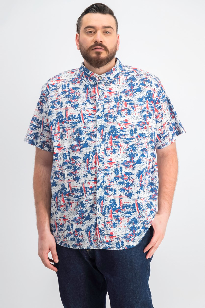 Men's Rapid Rivers Printed Shirt, White Beach Convo