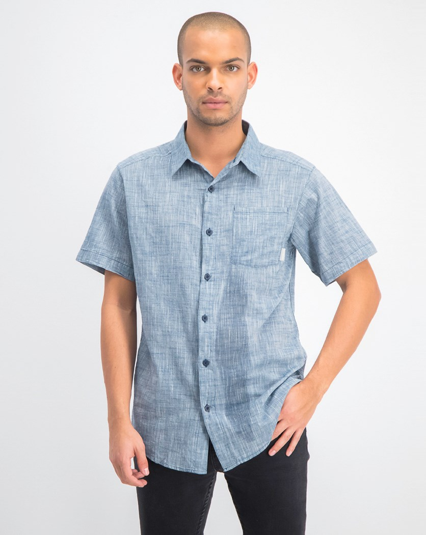 Men's Under Exposure Yarn Dye Shirt, Petrol Blue