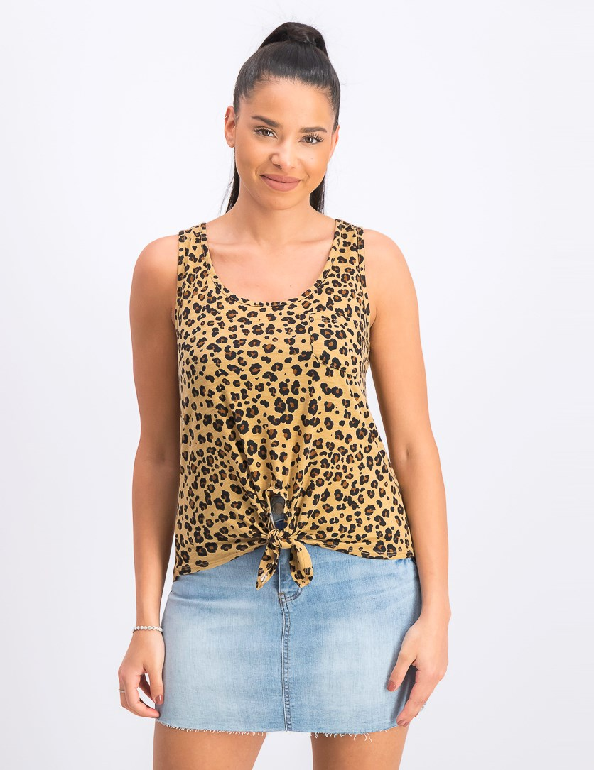 Juniors' Leopard Printed Tie-Front Tank Top, Cheetah