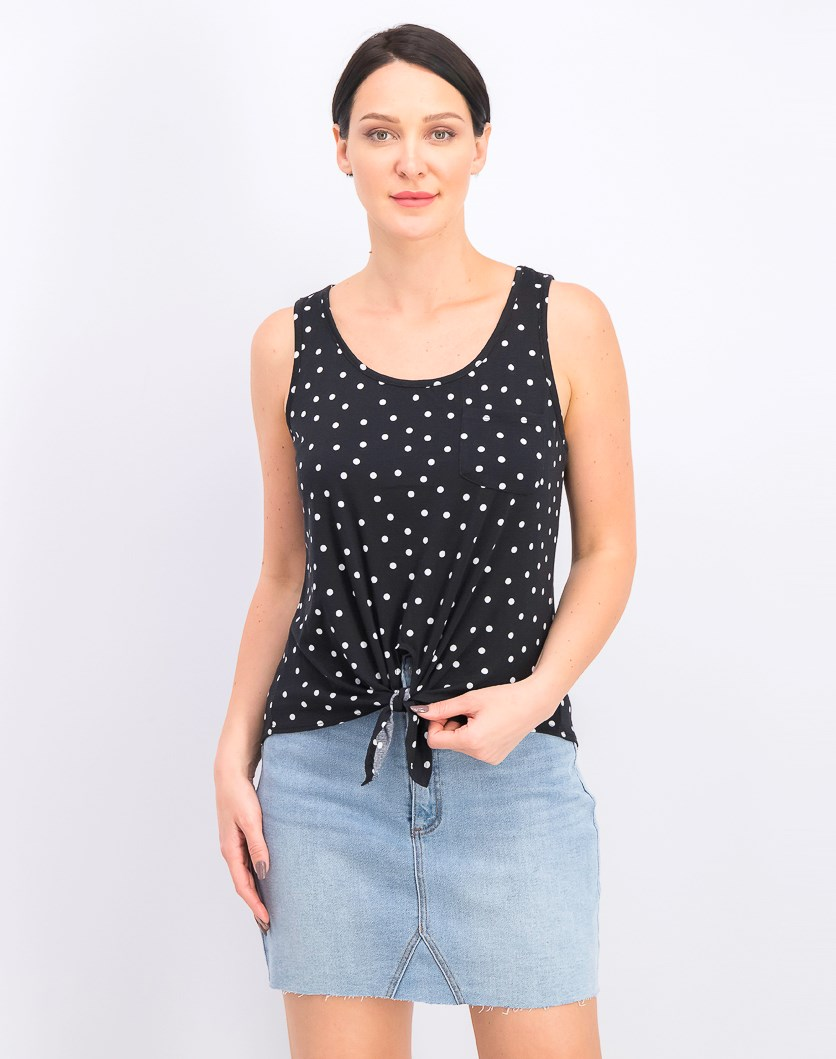 Juniors Polka-Dot Printed Tie-Front Tank Top, Black/White