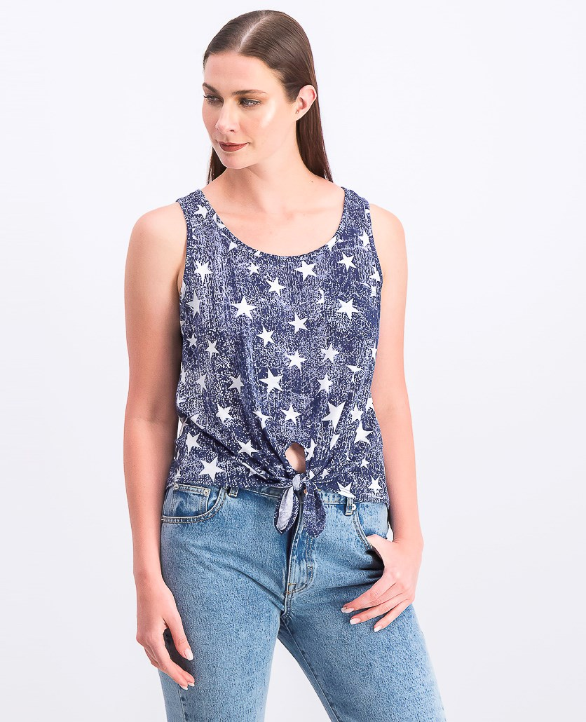 Womens Juniors' Printed Tie-Front Tank Top, American Star