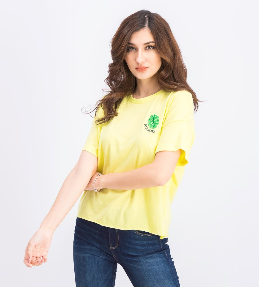Juniors' Talk To The Palm Graphic T-Shirt, Lime Light