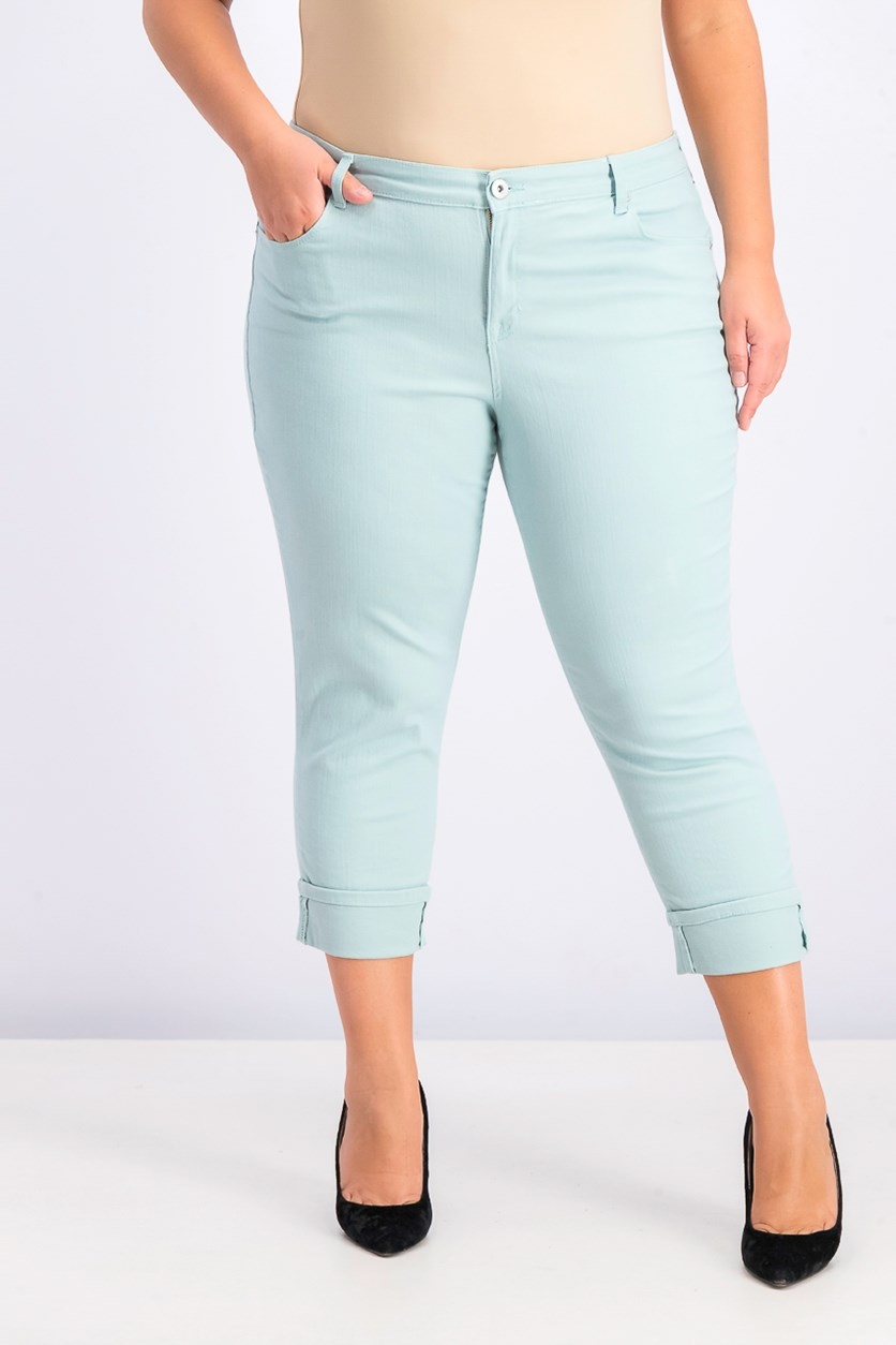 Women's Plus Size Cuffed Capri Jeans, Aquamint