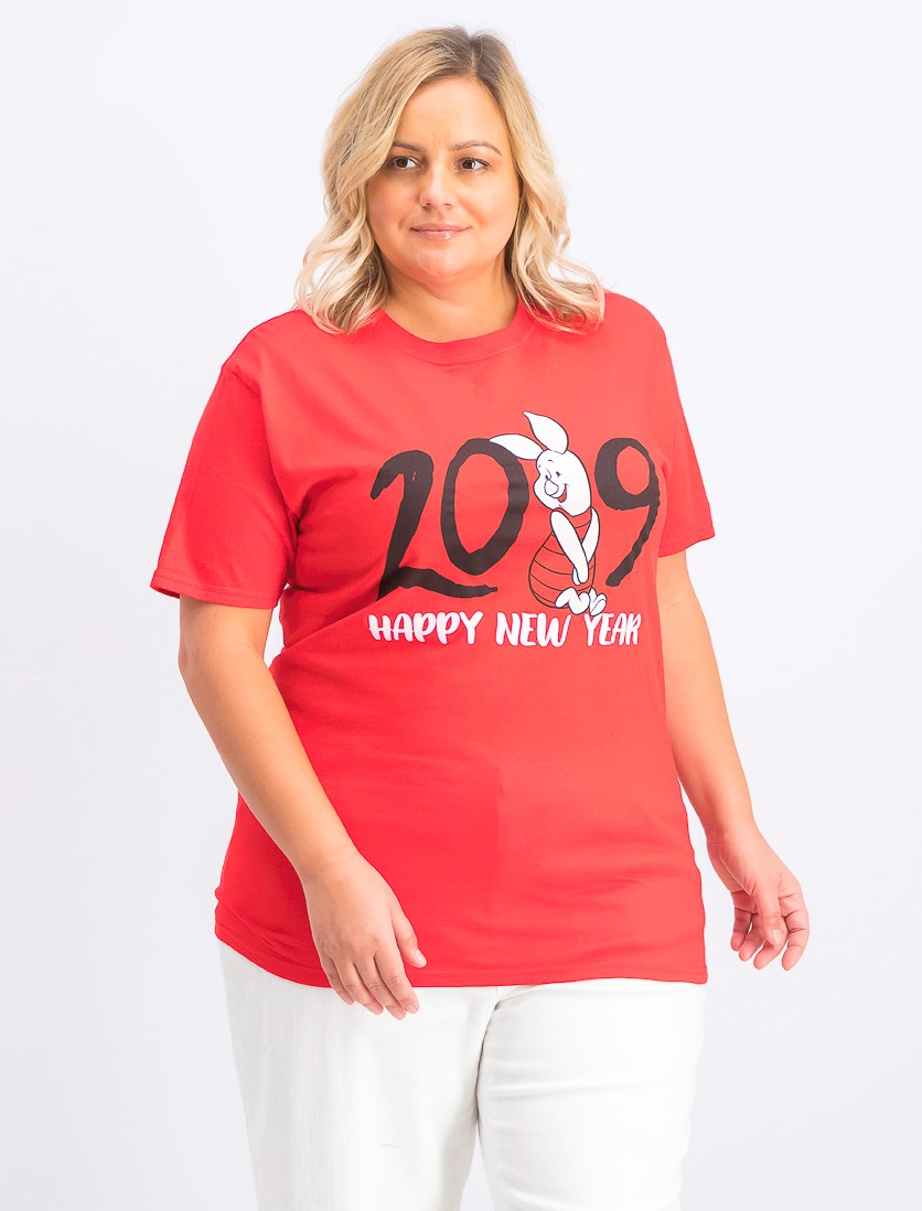 Trendy Plus Size Cotton Piglet Graphic-Print T-Shirt, Red
