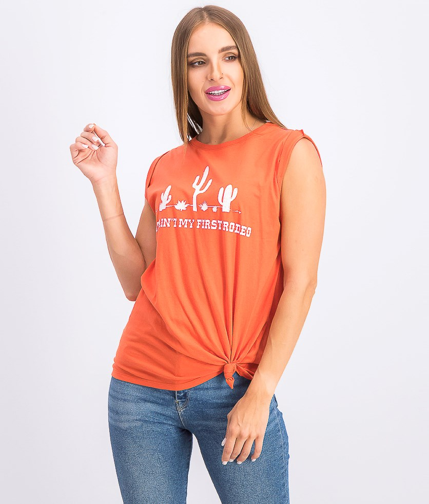 Juniors' Rodeo Knot-Front Graphic Tank Top, Burnt Sienna
