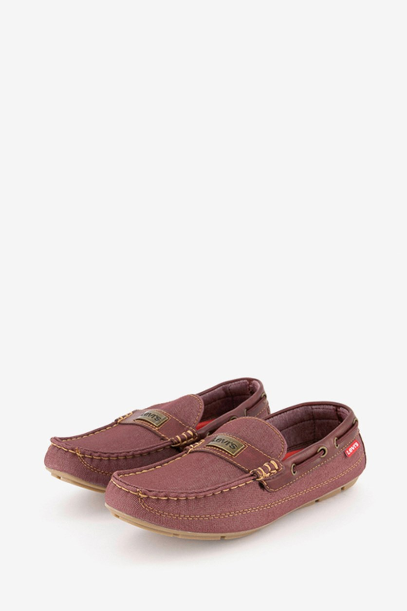 Men's Copper Denim Burnish Shoes, Burgundy
