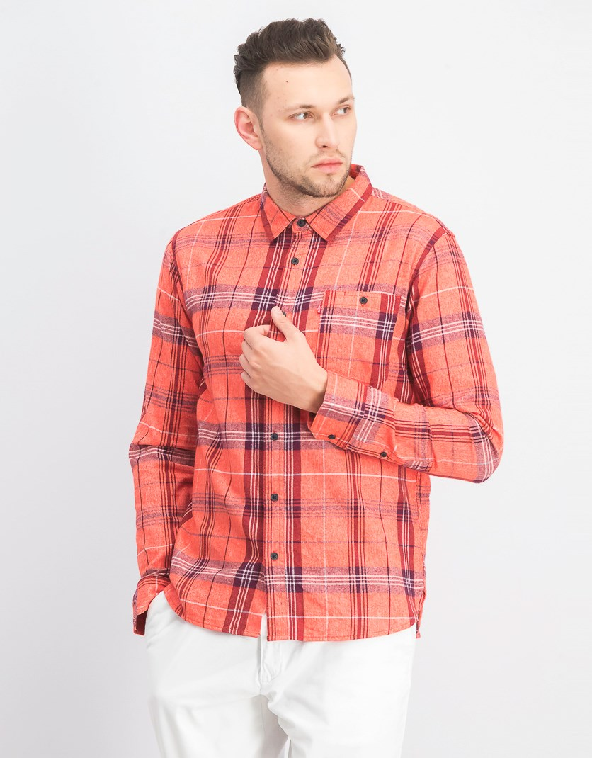 Men's Plaid Long Sleeve Shirt, Aurora Red