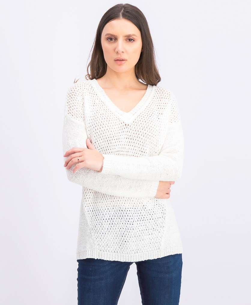 Women's Mixed Stitch Semi Sheer V-Neck Pullover Sweater, Soft White