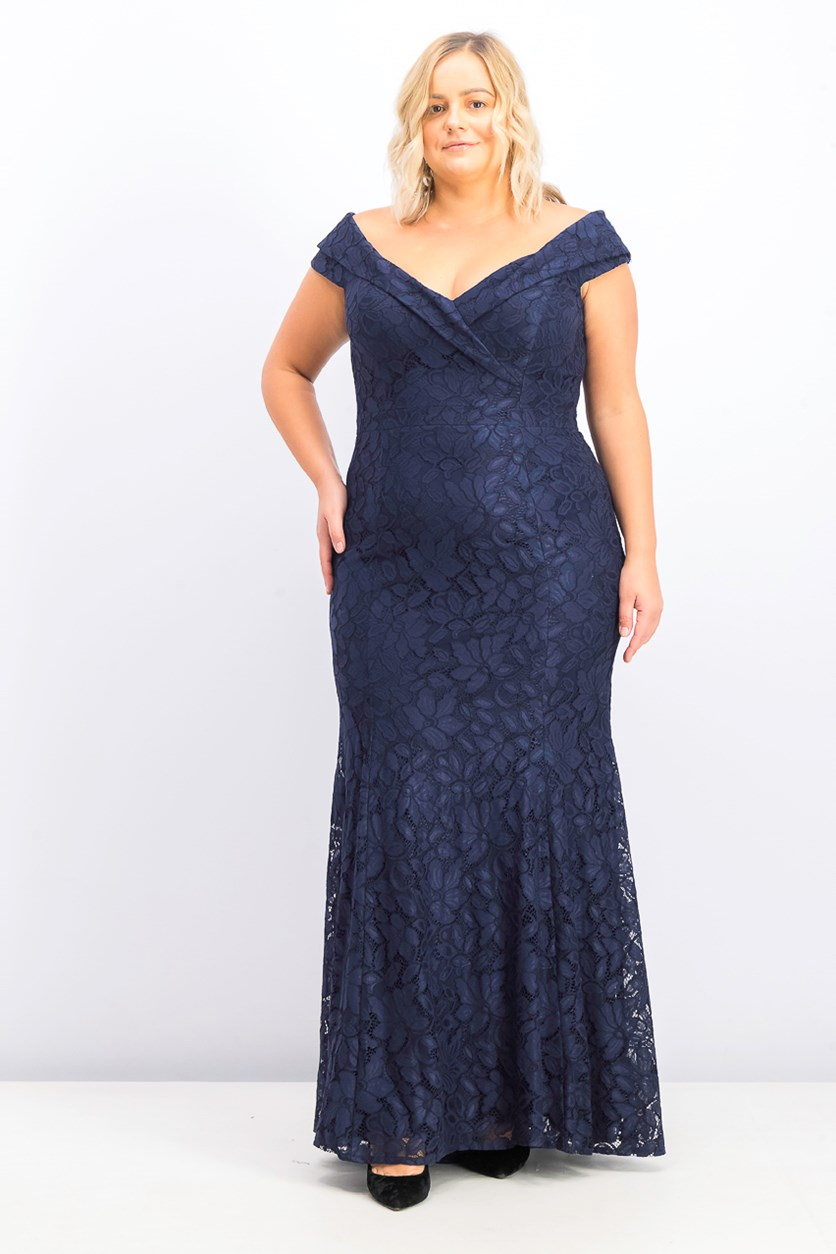 Women's Plus Size Off-the-Shoulder Lace Gown, Navy