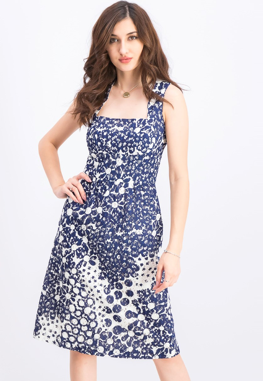 Women's Lace A-Line Dress, Indigo