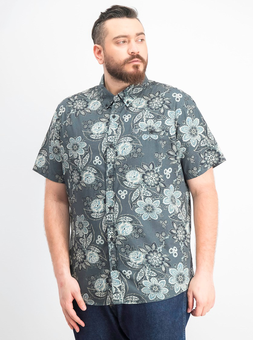 Men's Casual Shirts, Green Floral