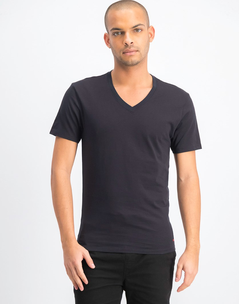 Men's 3-Piece Cotton V-Neck Undershirt, Black