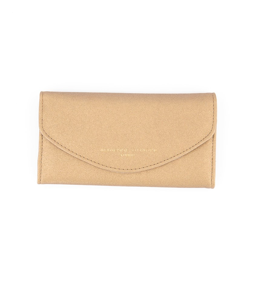 Fold Up Wallet with Phone Pocket, Bronze Glitter