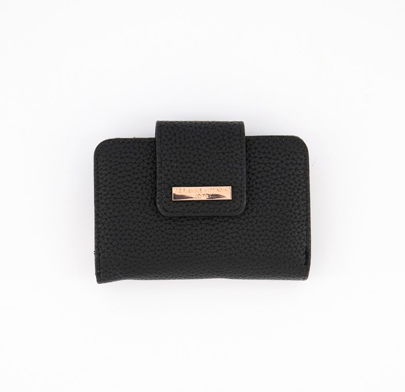 French Purse Wallet, Black Pebble/Rose Gold