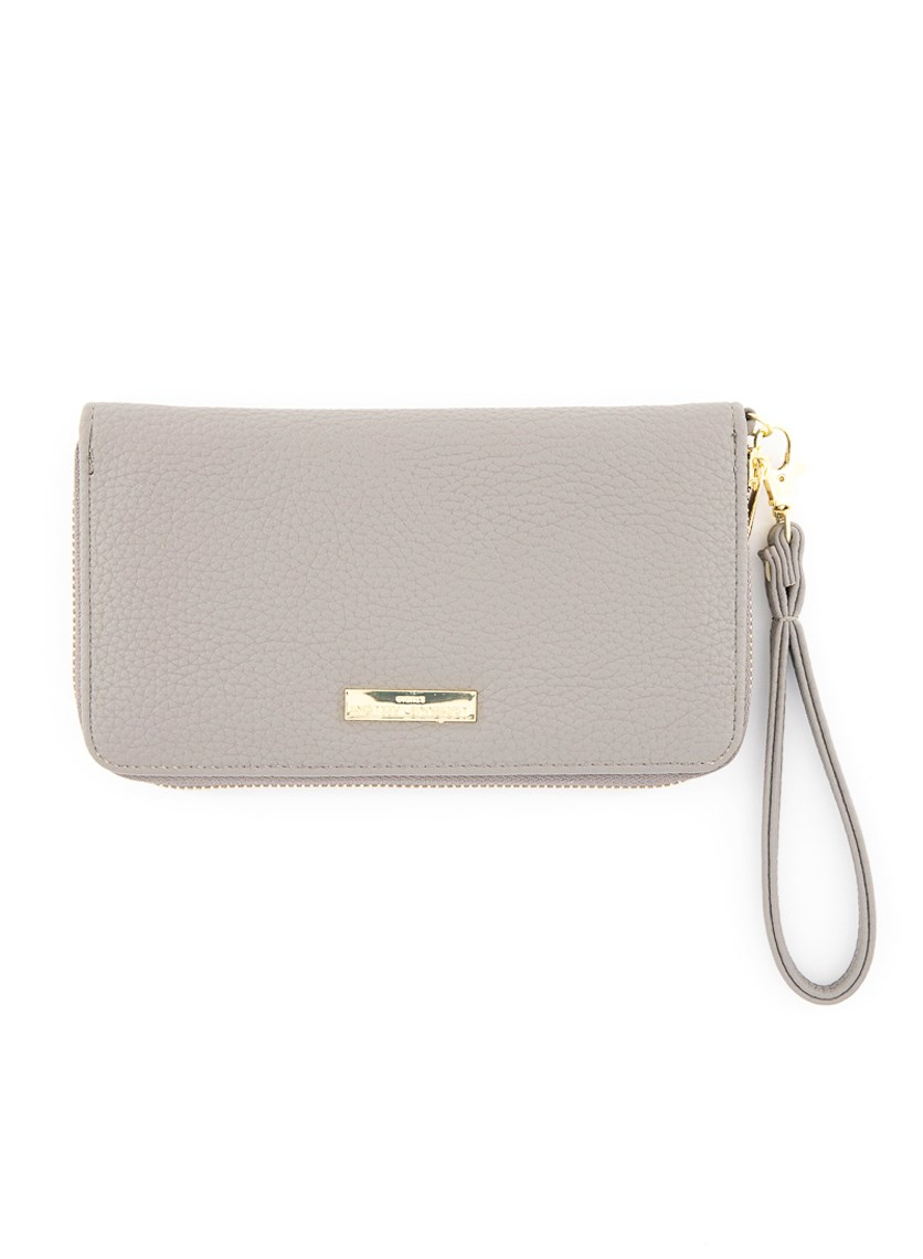 Wristlet Zip Around Wallet, Slate Grey Pebble