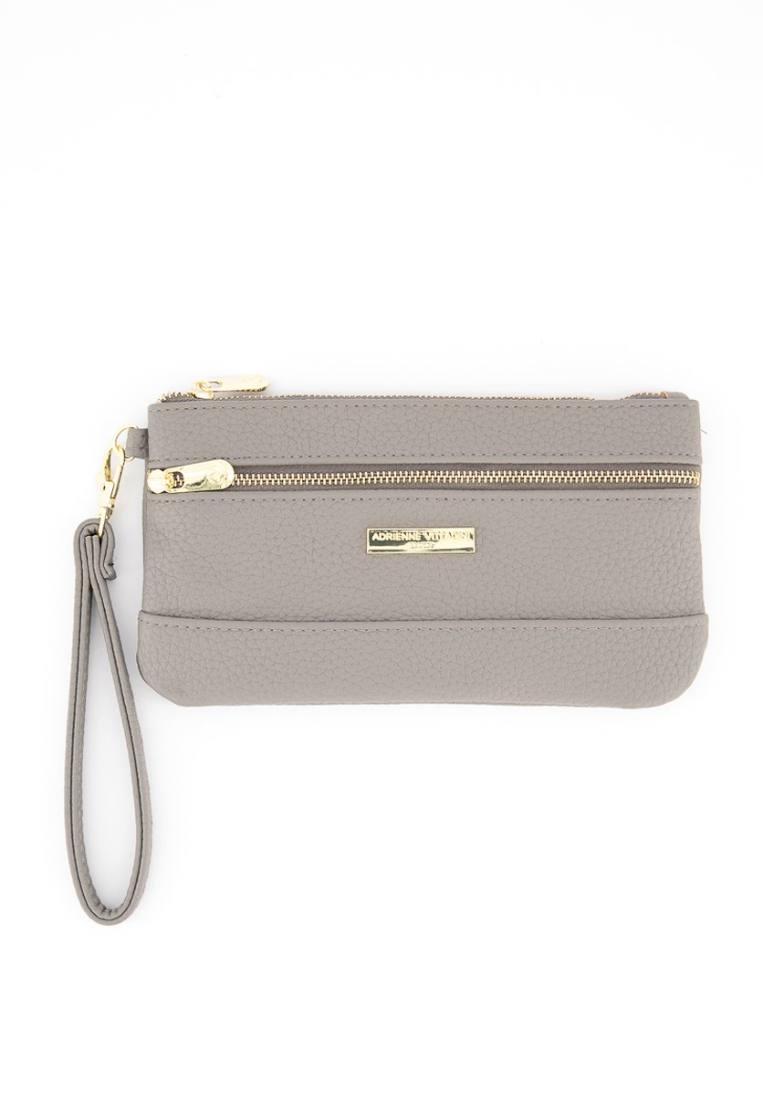 Two Zip Pocket Wristlet, Slate Grey Pebbles