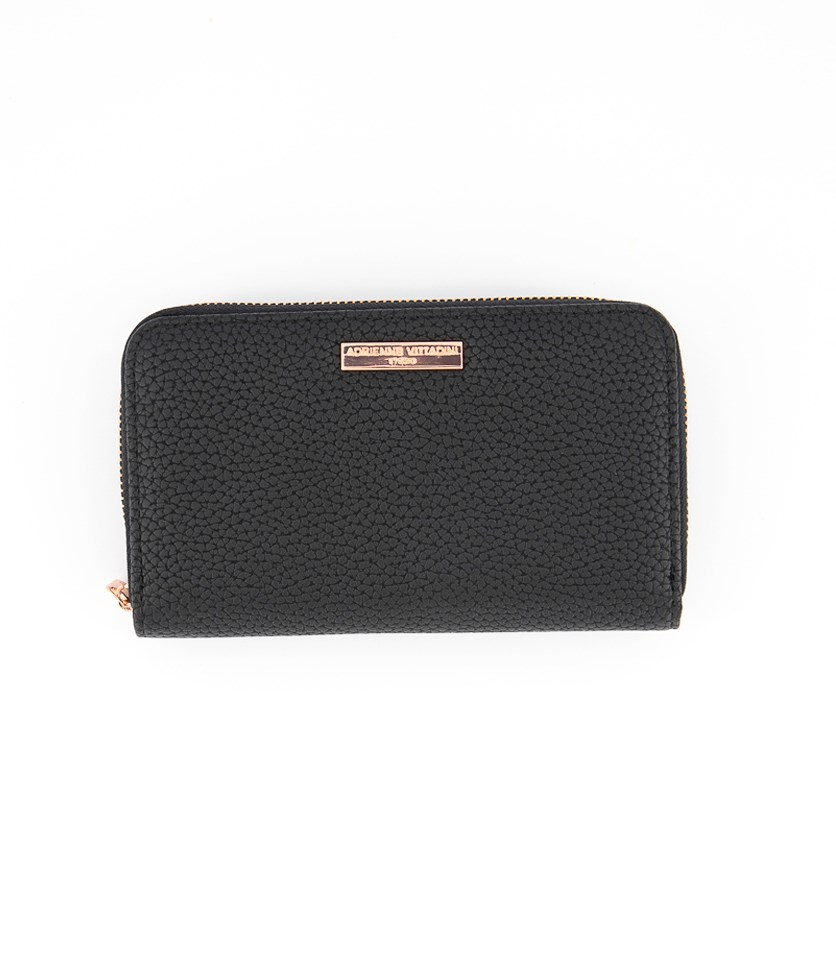 Zip Around with Back Card Wallet, Black Pebble
