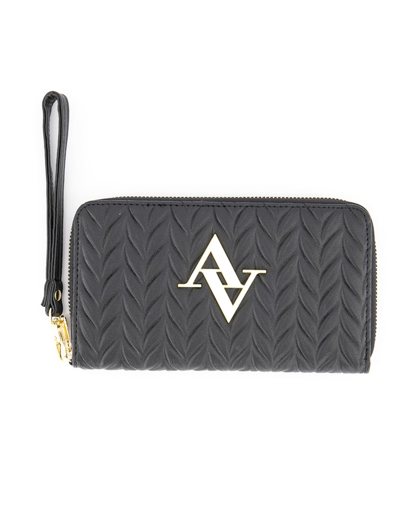 Textured Pleated Wristlet Zip Around Wallet, Black