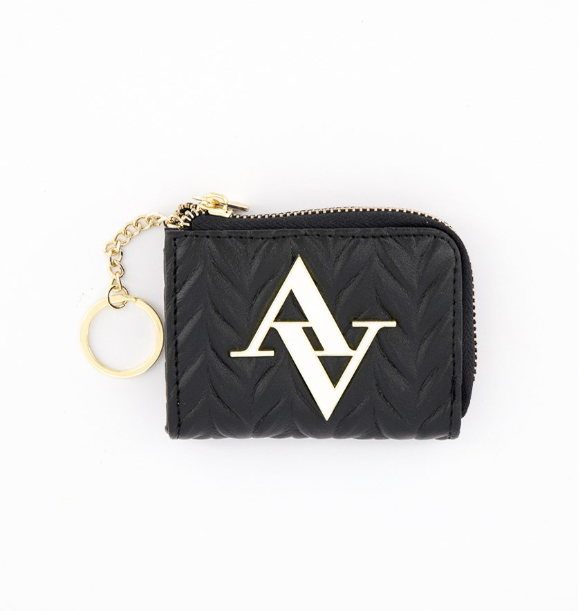 Textured Pleated Small Coin Purse, Black