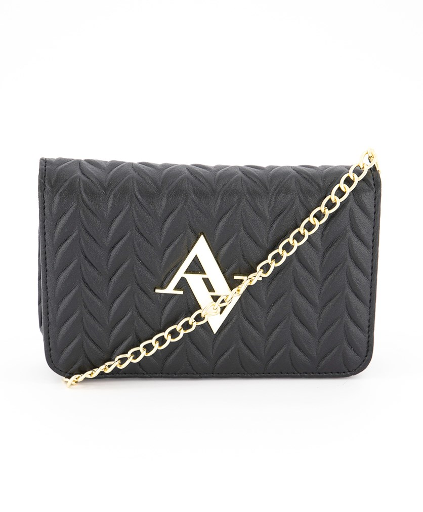 Pocket Chain Textured Pleated Wallet Crossbody, Black