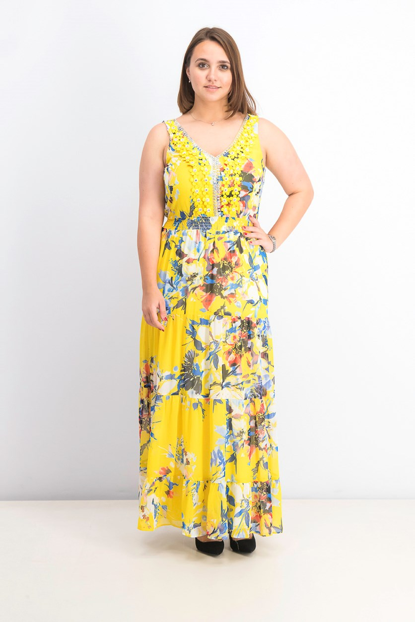 Women's Floral Embellished Chiffon Maxi Gown, Yellow Combo