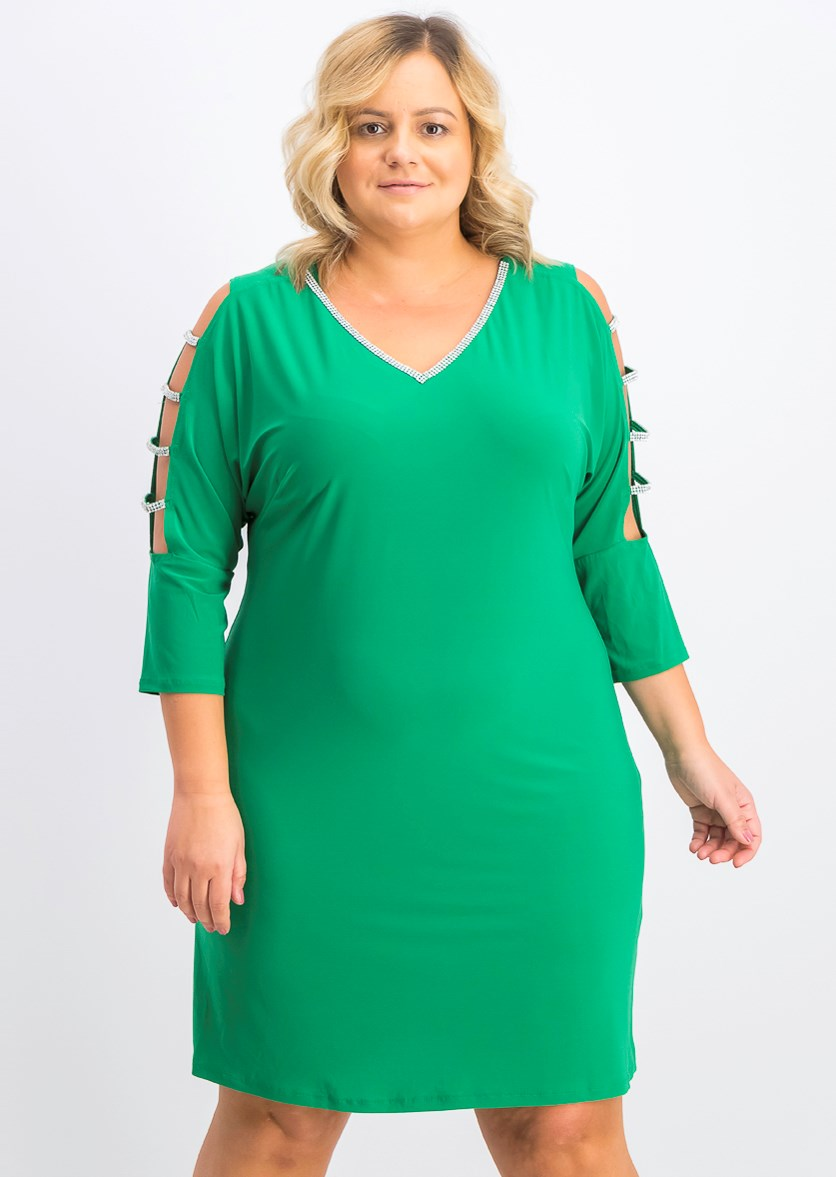 Women's Plus Size Lattice-Sleeve Shift Dress, Green