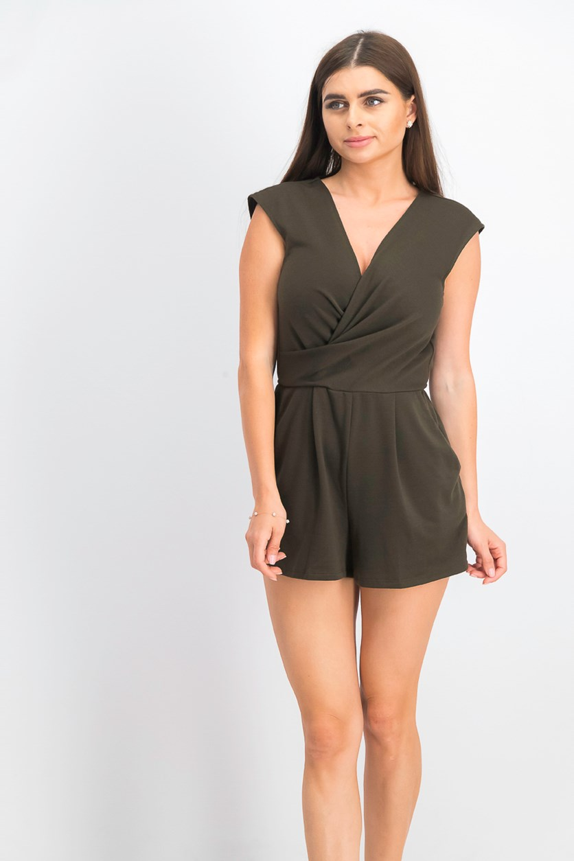 Women's Juniors' Plain Romper, Olive