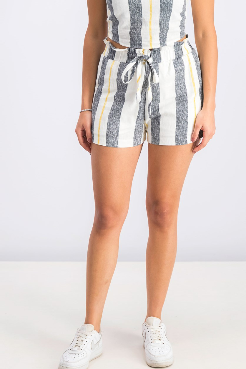 Juniors' Striped Paper-Bag Waist Shorts, Ivory/mustard