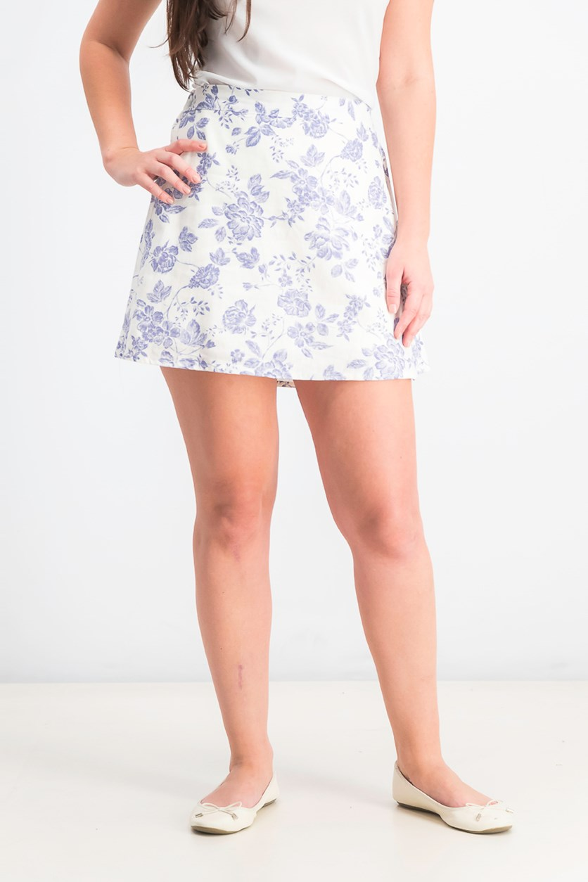 Juniors' Printed A-Line Skirt,  Ivory/Light Blue