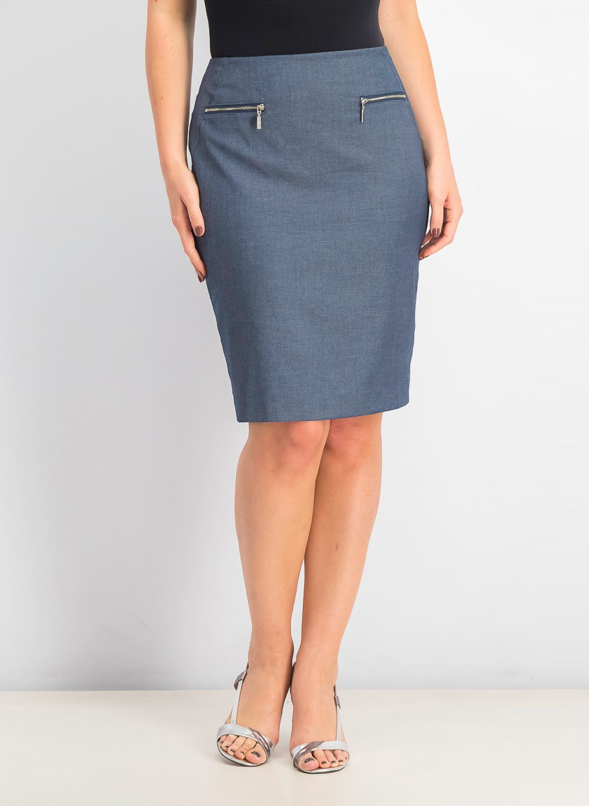 Women's Chambray Pencil Skirt, Dark Indigo