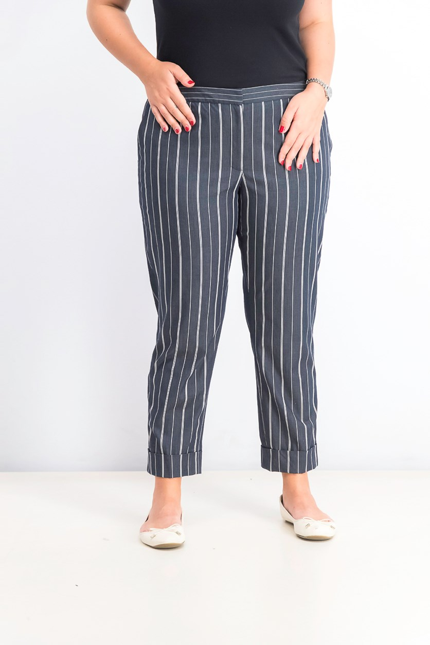 Women's Striped Cropped Pants, Indigo/ivory