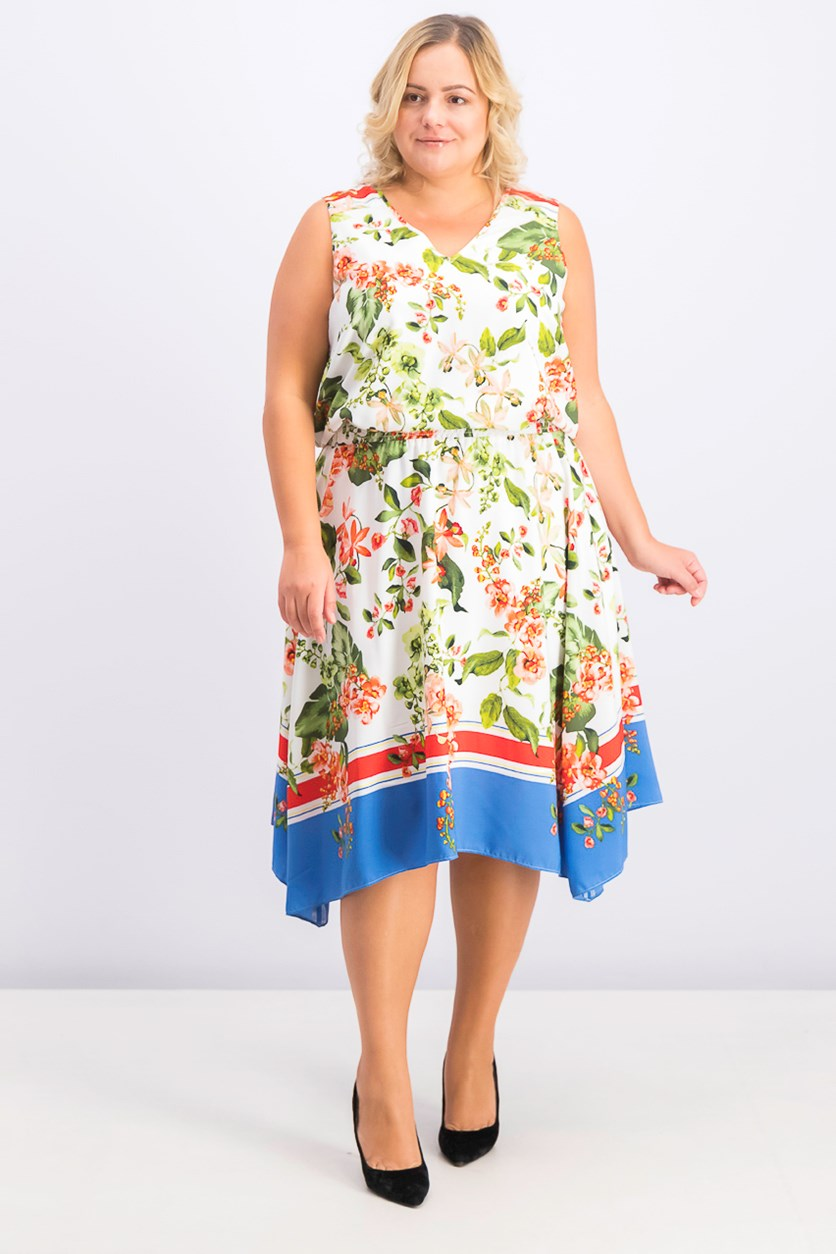 Women's Plus Size Floral Sleeveless Dress, White/Green/Blue