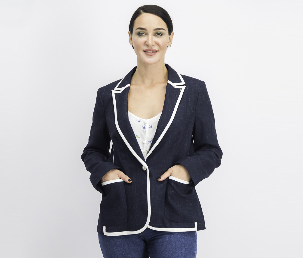 Women's Contrast-Trim One-Button Blazer, Navy