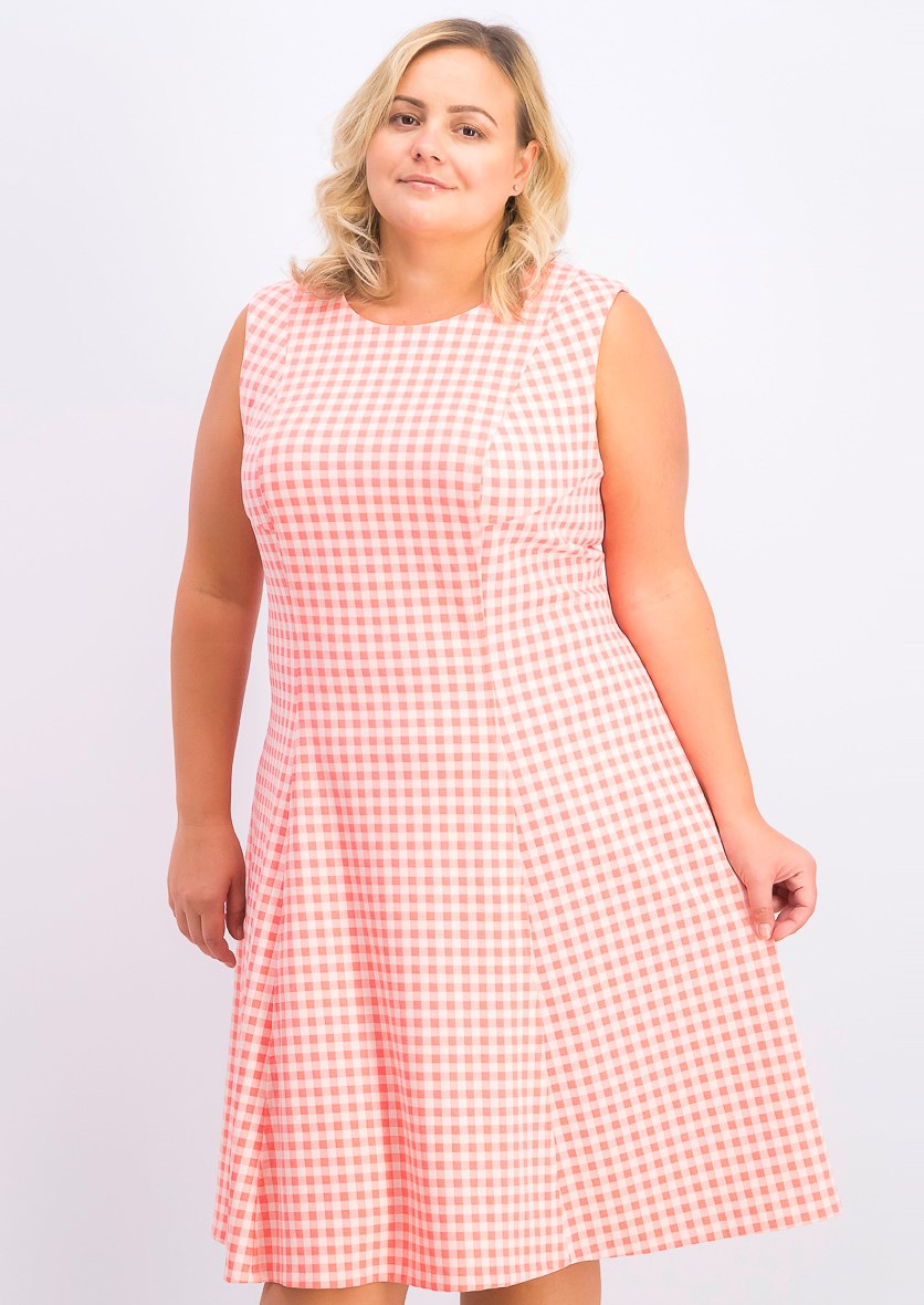 Women's Plus Size Gingham-Print Fit & Flare Dress, Coral