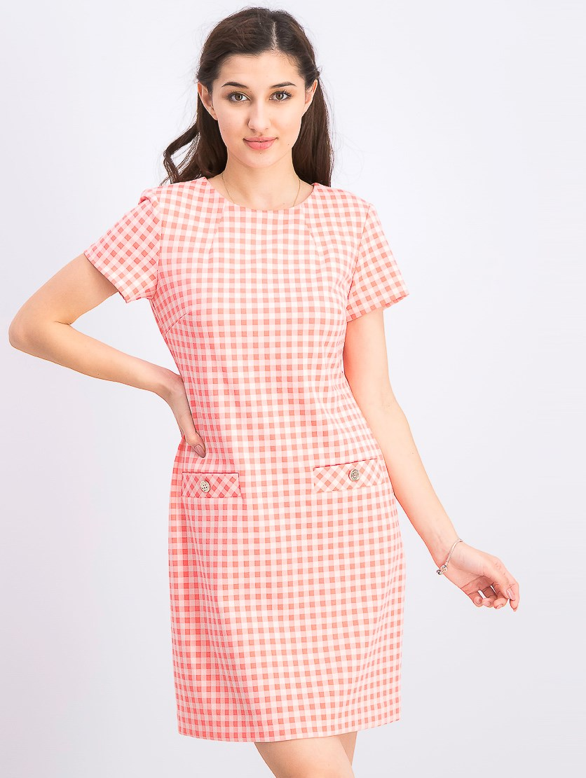 Women's Picnic Gingham Pocket A-line Dress, Pink Combo