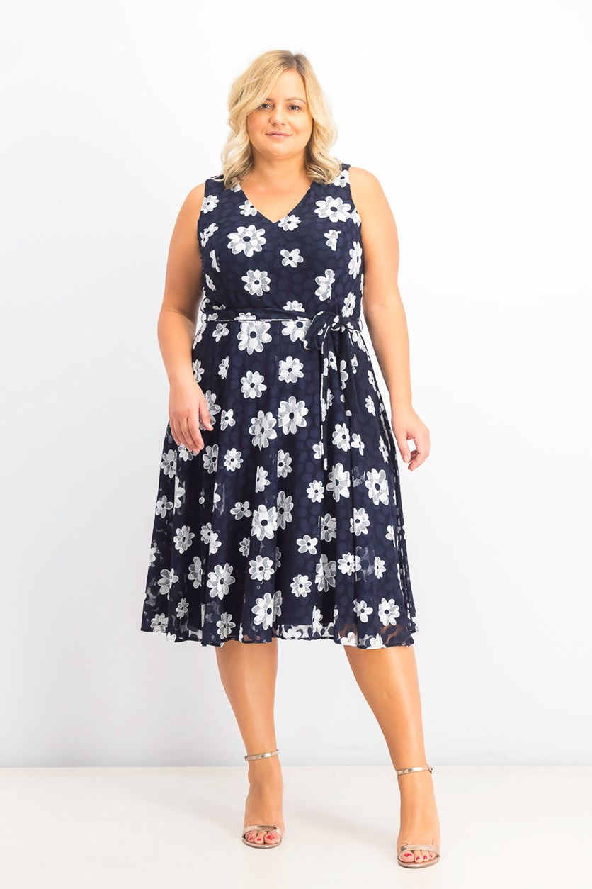 Womens Plus Size Belted Floral Fit & Flare Dress, Navy/ White