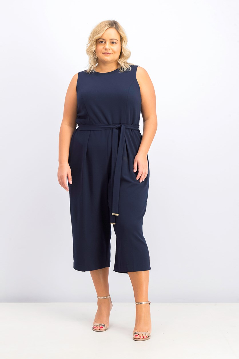 Women's Plus Size Belted Cropped Jumpsuit, Navy