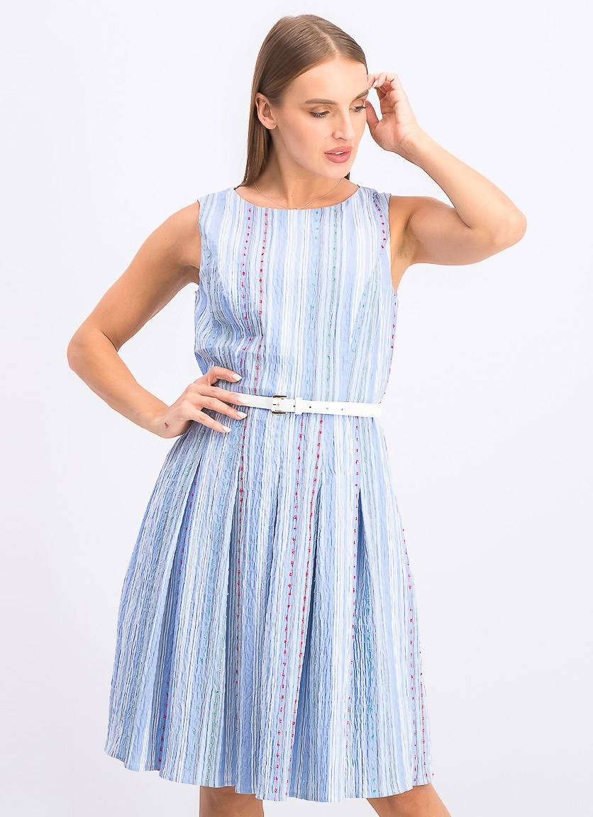 Women's Belted Fit & Flare Dress, Blue Combo
