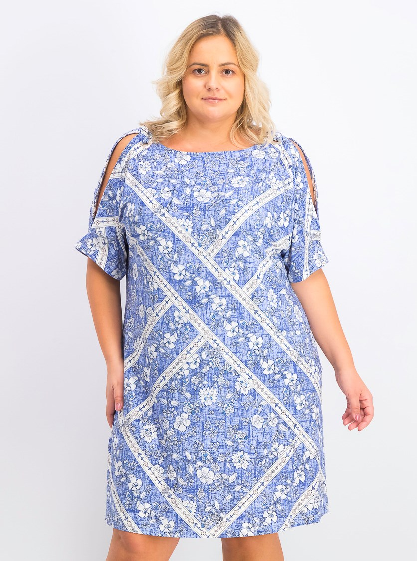 Women's Plus Size Cold-Shoulder Floral-Print Dress, Blue Combo